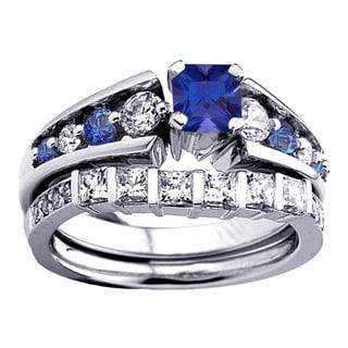 14k Gold 1 3/4ct Princess and Round White Diamond and Blue Sapphire Bridal Ring Set (H-I, I1-I2)