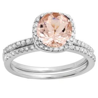 10k Gold 1 3/4ct Round Morganite and White Diamond Bridal Set (I-J, I1-I2)