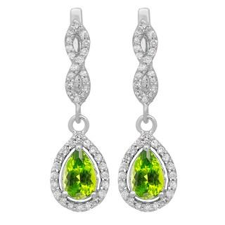 14k Gold 1 1/3ct Pear-cut Peridot and Round-cut White Diamond Drop Earrings (I-J, I2-I3)