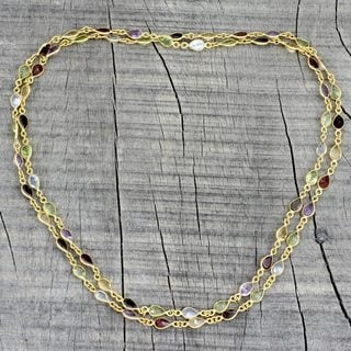 Handmade Gold Overlay 'Gemstone Romance' Multi-gemstone Necklace (India)