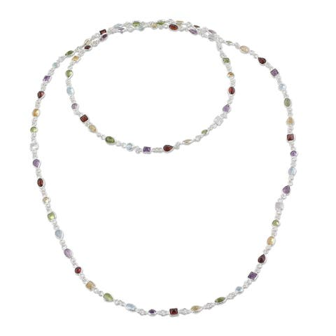 Handmade Delightful Colors Sterling Silver Multi-Stone Necklace (India)