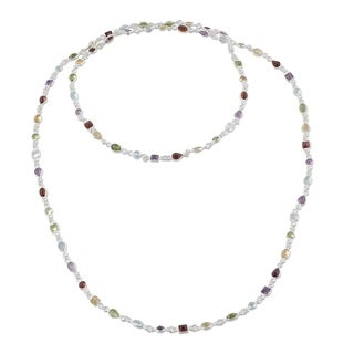 Handcrafted Sterling Silver 'Delightful Colors' Multi-gemstone Necklace (India)