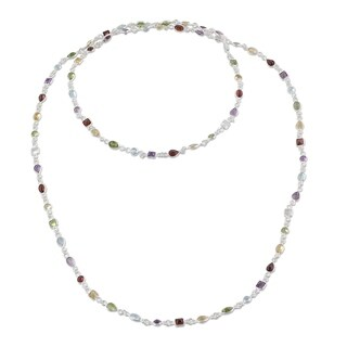Handmade Sterling Silver 'Delightful Colors' Multi-gemstone Necklace (India)