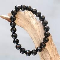 Handmade Onyx 'Black Lava' Bracelet (Indonesia)
