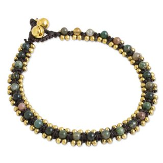 Handmade Brass 'Tinkling Bells' Agate Anklet (Thailand)