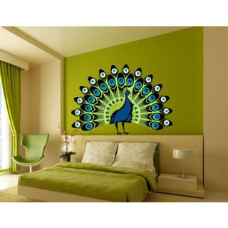 Peacock Bird Full Color Decal, Full color sticker, colored Peacock Bird Sticker Decall size 44x60