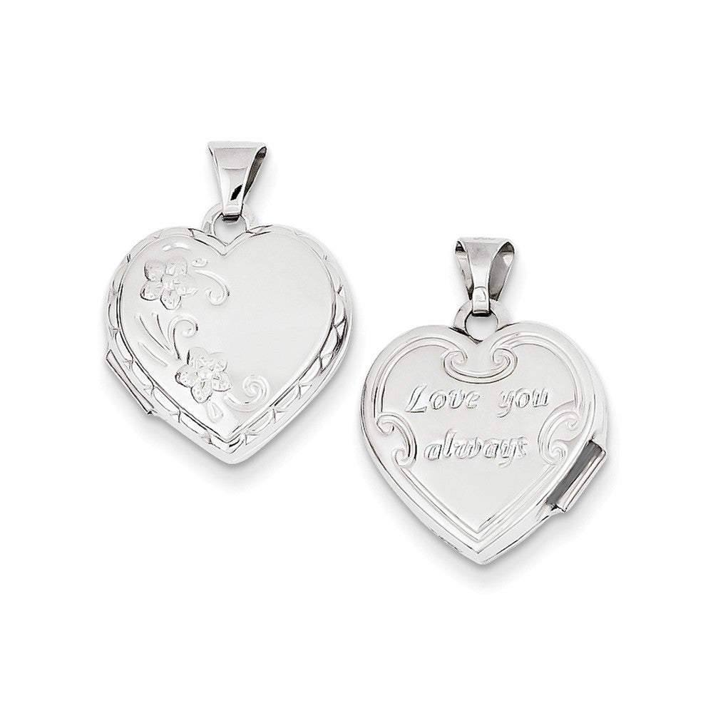 14k White Gold Polished Heart-Shaped Reversible Floral Lo...