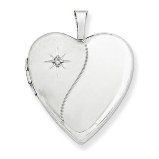 14k White Gold Polished Satin Diamond 20mm Heart Locket