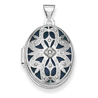 14k White Gold Oval with Diamond Accent Vintage Locket