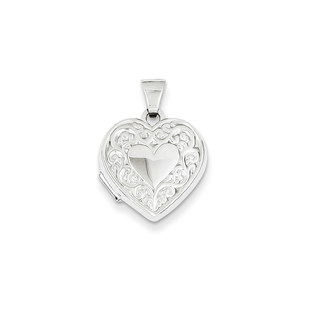 14k White Gold Heart Locket Pendant (White), Women's