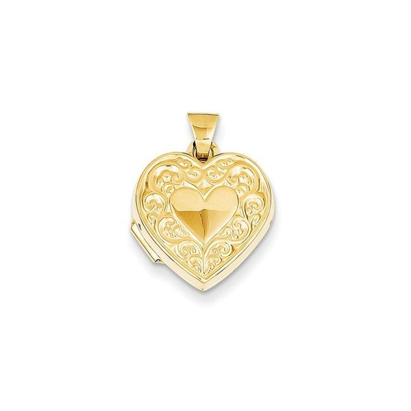 Shop 14k Yellow Gold Scroll Heart Locket Pendant Free