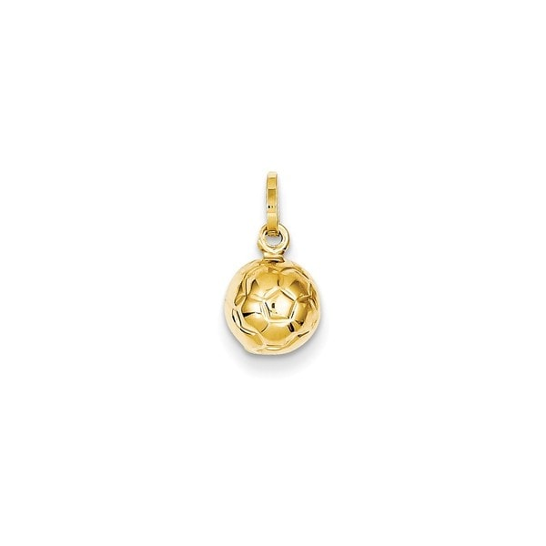 14k Yellow Gold 3-D Soccer Ball Charm
