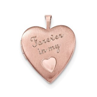 14k Rose Goldplated Sterling Silver Forever in My Heart Pendant Locket