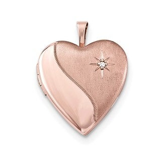 Sterling Silver 14k Rose Gold-plated Diamond Accent Heart Locket