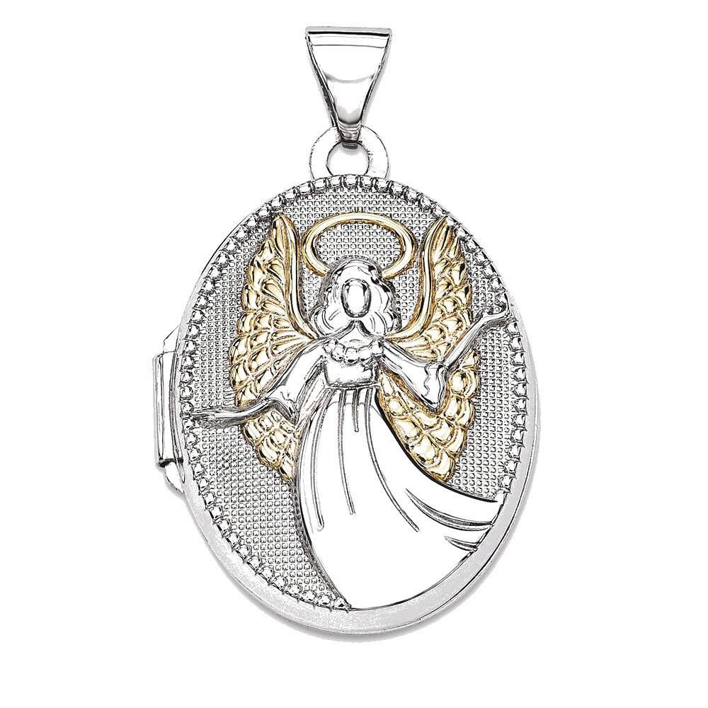 Sterling Silver Oval Guardian Angel Locket (White), Women's