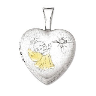 14k Gold-plated Sterling Silver Diamond Accent Angel Heart Locket