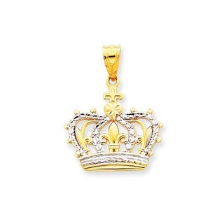 14k Yellow Gold Rhodium Crown Pendant