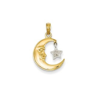 14k Gold Half Moon and Rhodium-plated Star Pendant