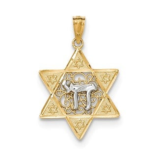 14k Two-tone Yellow Gold Polished Star of David With Chai Pendant