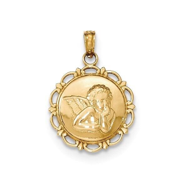 Shop 14k yellow gold polished angelcherub on round scallop frame 14k yellow gold polished angelcherub on round scallop frame pendant aloadofball Choice Image