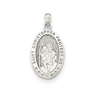14K White Gold Saint Christopher Oval Medal Pendant