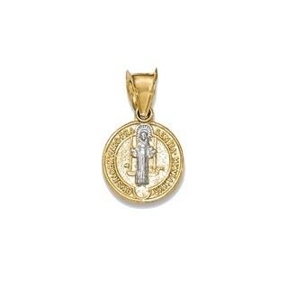 14k Gold Rhodium-plated St. Benedict Medal Pendant
