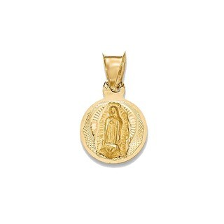 14K Yellow Gold Polished Lady Of Guadalupe Circle Pendant