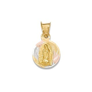 14K Two-tone Gold Lady Of Guadalupe Circle Pendant