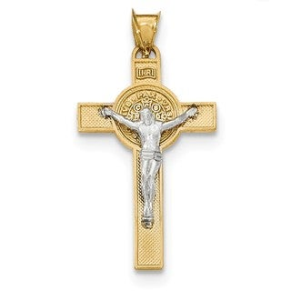 14k White Two-tone Gold St. Benedict Medal Crucifix Cross Pendant