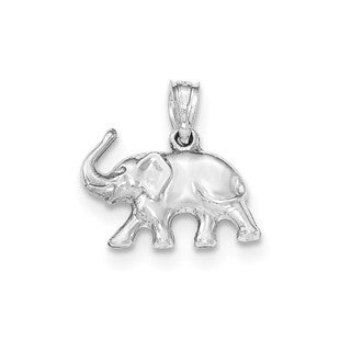 14k White Gold Polished Elephant Pendant
