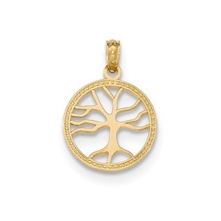 14k Yellow Gold Polished Small Tree Of Life In Round Pendant