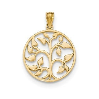 14k Yellow Gold Polished Cut-out Tree Of Life Round Pendant
