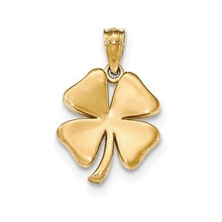 14k Yellow Gold Polished 4-leaf Clover Pendant