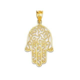 14K Yellow Gold Filigree Hamsa Pendant