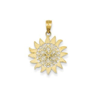14k Yellow Gold Polished Filigree Sun Pendant