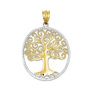 14K Yellow Gold Filigree Tree of Life Pendant