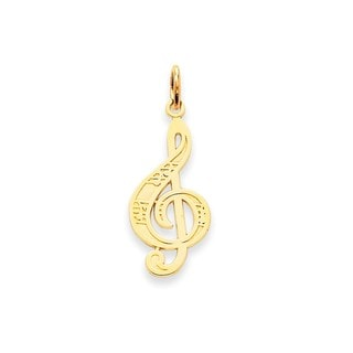 14k Yellow Gold Treble Clef Charm Pendant