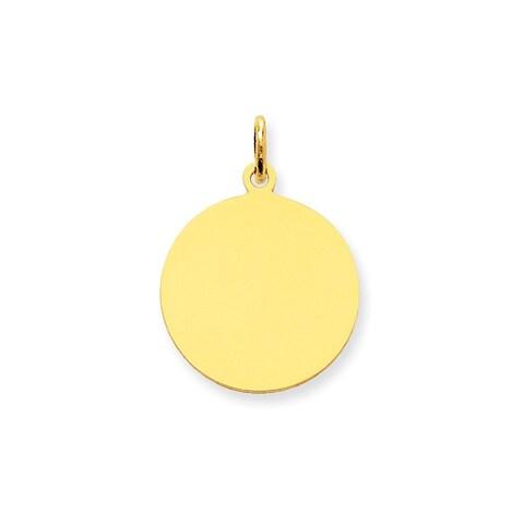 10k Yellow Gold Plain Gauge Circular Engravable Disc Charm