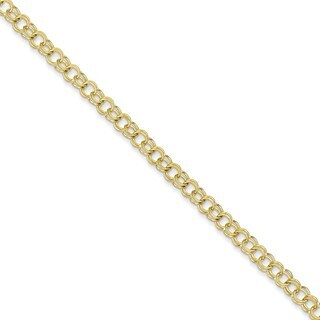 10k Yellow Gold Solid Double Link Charm Bracelet