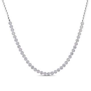 Miadora Signature Collection 18k White Gold 7 7/8ct TDW Diamond Semi-Eternity Tennis Necklace