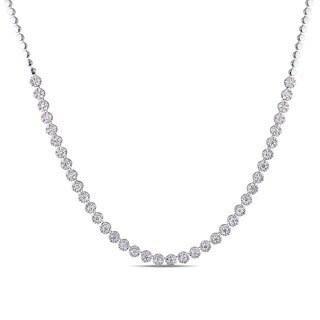 Miadora Signature Collection 18k White Gold 7 7/8ct TDW Diamond Semi-Eternity Tennis Necklace
