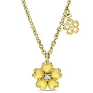 Miadora Yellow Plated Sterling Silver Children's Yellow Enamel White Topaz Flower Necklace (14 inches with 1 inch extender)