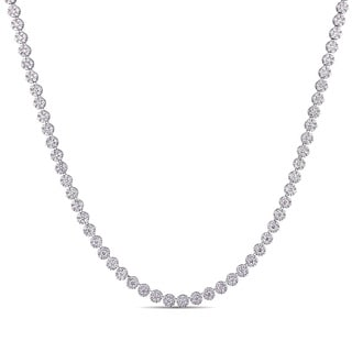 Miadora Signature Collection 18k White Gold 15 3/8ct TDW Diamond Tennis Necklace
