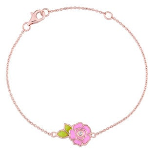 Miadora Rose Plated Sterling Silver Children's Pink and Green Enamel White Topaz Floral Bracelet (6 inches + 1 inch extender)