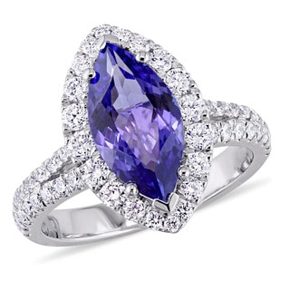 Miadora Signature Collection 18k White Gold Marquise-Cut Tanzanite and 7/8ct TDW Diamond Halo Engagement Ring (G-H, SI1-SI2)