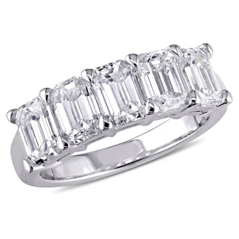 Miadora Signature Collection 18k White Gold 2 1/2ct TDW Certified Emerald-Cut Diamond Anniversary Ri