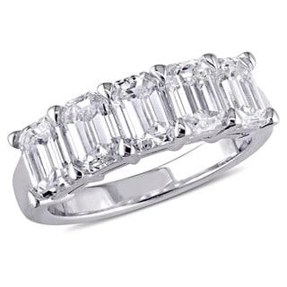 Miadora Signature Collection 18k White Gold 2 1/2ct TDW Certified Emerald-Cut Diamond Anniversary Ri