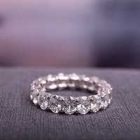Miadora Signature Collection 18k White Gold 5 1/2ct TDW Certified Oval Diamond Full-Eternity Ring
