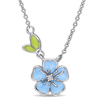 Miadora Sterling Silver Children's Blue and Green Enamel White Topaz Floral Necklace (14 inches with 1 inch extender)