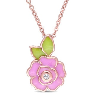 Miadora Rose Plated Sterling Silver Children's Enamel White Topaz Accent Flower Charm Necklace (14 inches + 1 inch extender)